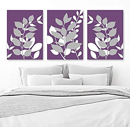 Amazon.com: Purple Gray Bedroom Wall Decor Leaves Canvas or ...