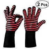 BESTOMZ 2Pcs BBQ Oven Gloves Heat Resistant Insulated Silicone Oven Mitts for Grilling Cooking Baking Smoking Fireplace