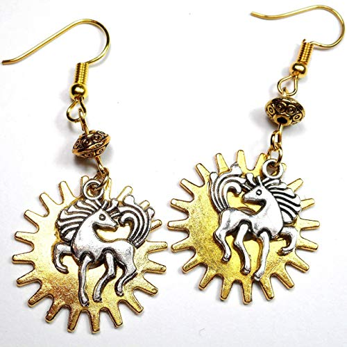 Silver Tone Prancing Horse Over Golden Gear with Metal Bead Steampunk Earrings, Equine Jewelry Gift