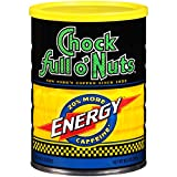 Chock Full o'Nuts Energy Blend Ground Coffee, Medium Roast - 100% Premium Coffee Beans – Deep, Rich, Bold Medium Blend with 20% More Caffeine (10.5 Oz. Can)