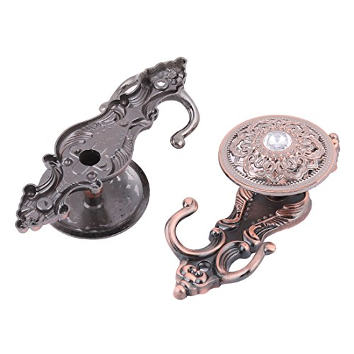 uxcell Metal Home Wall Mounted Cloud Carved Curtain Coat Towel Hanger Pothook Holder 2pcs Copper Tone free shipping