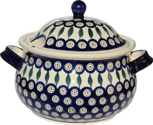 Polish Pottery Soup Tureen From Zaklady Ceramiczne Boleslawiec 1004-56 Peacock Pattern, 13.4 Cups - Polish Pottery Soup Tureen