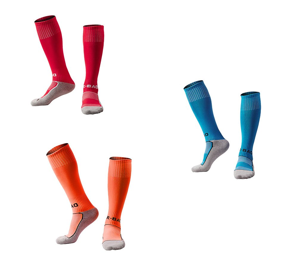 OUAYJI kids Knee High Sport Towel Bottom training compression Soccer Football Socks 3 pairs rose red&sky blue&orange by OUYAJI