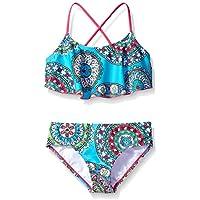Kanu Surf Girls' Jasmine Flounce Bikini Beach Sport 2-Piece Swimsuit