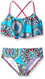 Kanu Surf Girls' Big Alania Flounce Bikini Beach Sport 2 Piece Swimsuit, Jasmine Aqua, 10