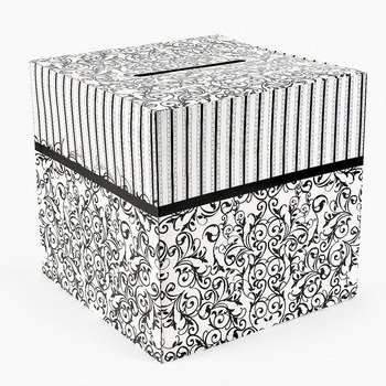 Fun Express - Black & White Design Card Box for Wedding - Party Supplies - Containers & Boxes - Paper Boxes - Wedding - 1 Piece