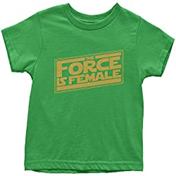 Youth The Force Is Female Feminist Star Warship T-Shirt X-Large Kelly Green