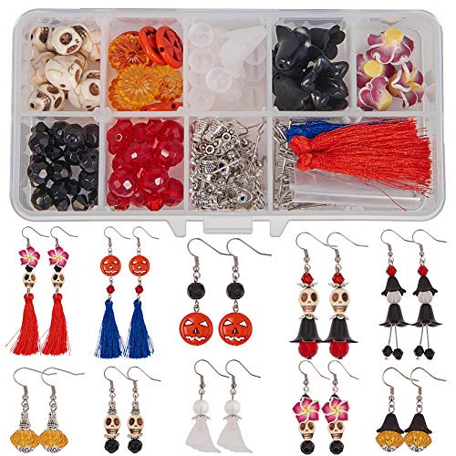 SUNNYCLUE 1 Box DIY Make 6 Pairs Halloween Theme Dangle Earring Jewelry Making Starter Kits Skull Pumpkin Ghost Witch Beaded Tassel Earring Making Supplies, Instruction]()