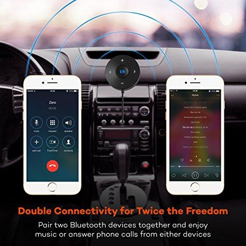 TaoTronics Bluetooth Car Kit Bluetooth Receiver Bluetooth 42 HandsFree Audio Adapter Builtin