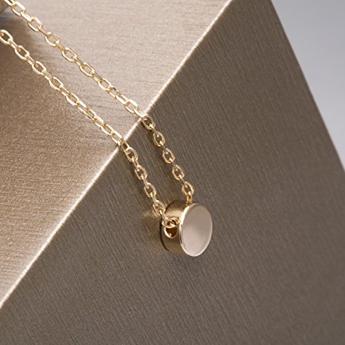 S.Leaf Gold Tiny Dot Necklace Sterling Silver Ball Pendant Circle Necklace (gold) by S.Leaf (Image #6)