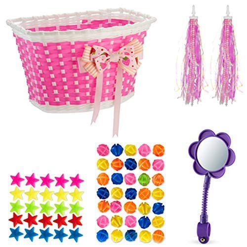 Girls Bike Bicycle Decorations Bike Basket Spoke Beads Streamers, Bike Mirror Cute Fun Pink Purple - Basket Bicycle Girl