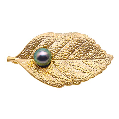JYX Luxurious Pearl Brooch 10mm Peacock-green Tahitian Cultured Pearl Brooch Pin Leaf-style