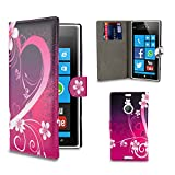 32nd® Design book wallet PU leather case cover for Nokia Lumia 1520, including screen protector and cleaning cloth - Love Heart