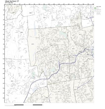 Amazon.com: ZIP Code Wall Map of West Hartford, CT ZIP Code Map Not ...