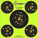 "50 Pack - 12""x12"" (5) Bullseye Splatterburst Target - Instantly See Your Shots Burst Bright Florescent Yellow Upon Impact!"