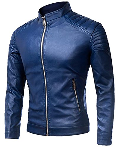 Coat 1 Stand Zipper Leather Jacket Generic Men's Faux Collar 1xw0qFqO