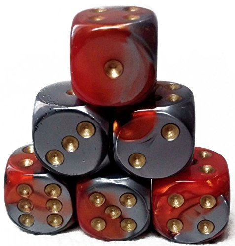 - Custom & Unique {Standard Medium 16mm} 6 Ct Pack Set of 6 Sided [D6] Square Cube Shape Playing & Game Dice w/ Rounded Corner Edges w/ Swirl Pearl Agate Stone Two Tone Design [Red, Gray & Gold]