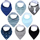 Baby Drool Bibs Bandana Teething Organic Cotton Adjustable Snap triangle Bib set Baby boys girls Shower Gift(Plaid & Solid Color 8pcs)