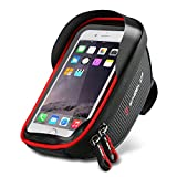 Bike Phone Mount Bag, Waterproof Universal Cycling Bicycle Frame Bags Phone Mount Holder For Iphone 6/6s/7/7s/8/X plus samsung 7 note 7 Below 6.2 inch Top Tube Handlebars Storage Bag (black2)