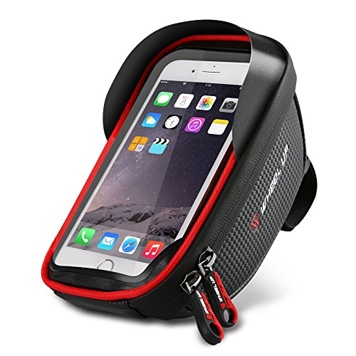 Handlebar Bag Mount (Bike Phone Mount Bag, Bike Handlebar Bags with Waterproof High sensitivity TPU touch screen Phone Case for iPhone X 8 7 6s 6 plus 5s Samsung Galaxy s7 s6 note 7 Cellphone Below 6.0 Inch + Rain Cover)