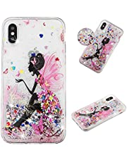 Glitter Case for iPhone X/XS,Sparkle Floating Liquid Quicksand Soft Clear Slim Fit Silicone Case and Screen Protector,QFFUN Anti-Scratch Transparent TPU Bumper Protective Cover - Flower Fairy