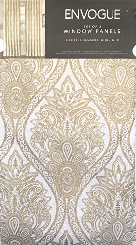 Envogue Home Window Curtains Panels Drapery Cotton Pair Set of 2 Gold Geometric Medallions on White, Chantal Metallic Printed Damask -- 50 Inches by 96 (Damask Drapery)