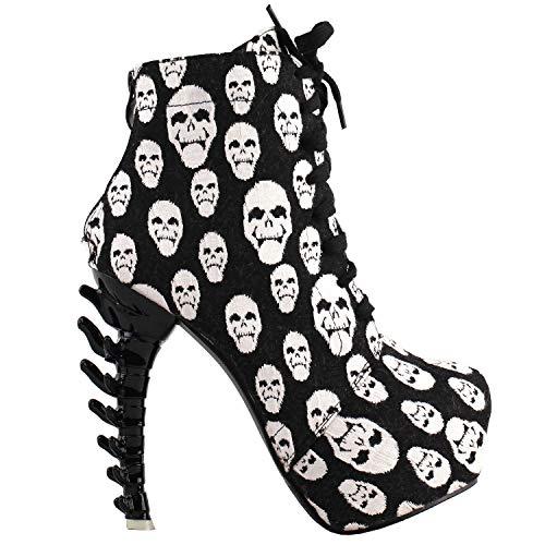 SHOW STORY Punk Design Vintage Black Skull Print Women's High-top Bone High Heel Platform Ankle Boots,LF80647CH37,6US,Black Skull