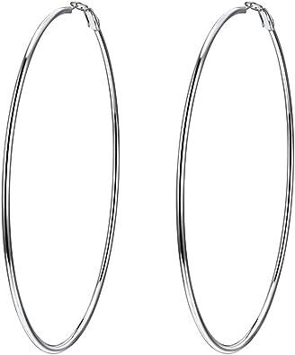 Big ovale Boucles d/'Oreilles Créoles Acier inoxydable Femmes Or énorme Fashion Jewelry