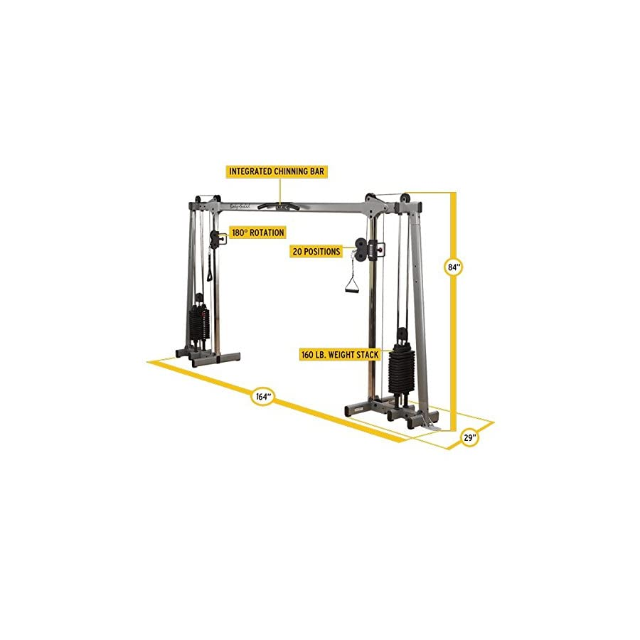 Body Solid DELUXE CABLE CROSSOVER GDCC250 Functional Trainer Home Gym with Black Stacks