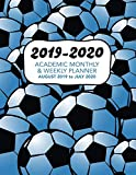 2019 - 2020 Academic Monthly & Weekly Planner - August 2019 to July 2020: Blue Shaded American Soccer Pattern - Organizer, Agenda and Calendar For ... (Blue Shaded Soccer Football Pattern)