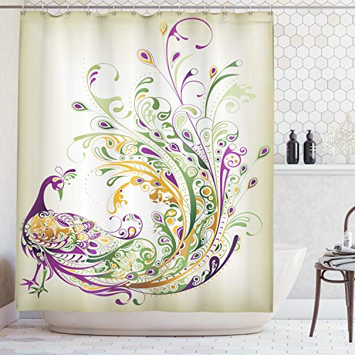 Ambesonne Abstract Home Decor Collection, Peacock Bird Tail Feather Plume Paisley Pattern Ornamental Decoration Image, Polyester Fabric Bathroom Shower Curtain Set with Hooks, Purple Green Mustard