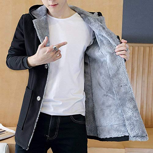 Slim Slim Spesso Vento A Schwarz Hooded Hooded Hooded Semplice da Giacca Giacca Trench Caldo Uomo Casual Pile Parka Cappotto in Stile Fit YOCxw