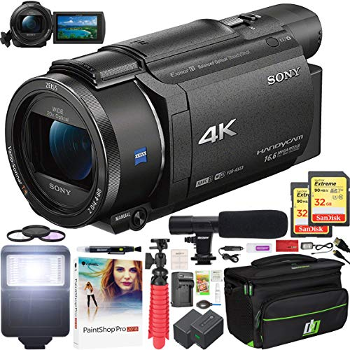 Sony FDR-AX53 4K HD Handycam Camcorder Video Recording Camera with Deco Gear Travel Case Extra Battery Flash & Condenser Microphone + 2X 32GB Memory Cards Filter Kit Pro Bundle