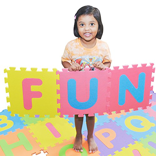 SAFEST Non Toxic Alphabet Puzzle Mat | THICKEST ABC + Numbers 0 to 9 Flooring Play Mat | Eva Foam | Kids Learn & Play with Interlocking Puzzle Pieces | Reusable Carry Bag | BONUS Fun Learning Placemat - Alphabet Puzzle Mat