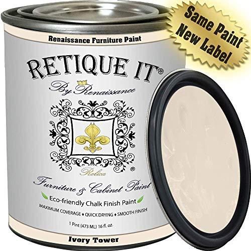 Retique It Chalk Furniture Paint by Renaissance DIY, 16 oz (Pint), 02 Ivory Tower-Antique White