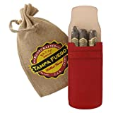 Tampa Fuego Cigar Case Red Smooth Genuine Leather With Tab Made in USA