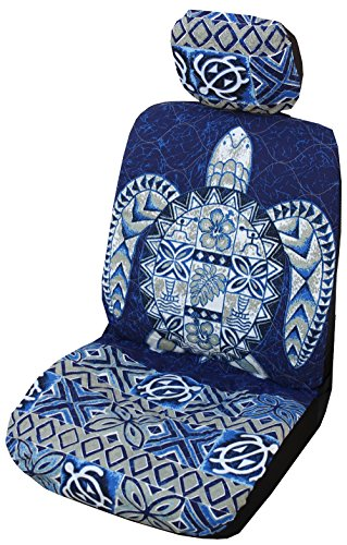 Winnie Fashion Side Airbag Compatible; Navy Big Honu Hawaiian Separate Headrest Cover; Made in Hawaii; Set of 2