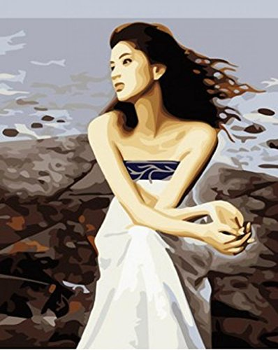 PaintingStudio Beautiful girl sit on the beach enjoys Sea breeze DIY Painting By Numbers Kit 16x20 inch Acrylic Paint Art on Canvas Frameless