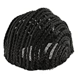 MagiDeal Black Cornrow Wig Cap for Wig Making Wig Cap with Combs Invisible Hair Nets - S/ M/ L - Black, L
