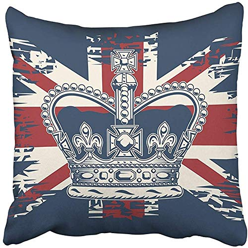 20x20 Inch Throw Pillow Cover Polyester Black Queen The Imperial State Crown On UK Flag White England Jack British Union Royal Cushion Decorative Pillowcase Square Two Side Print Home