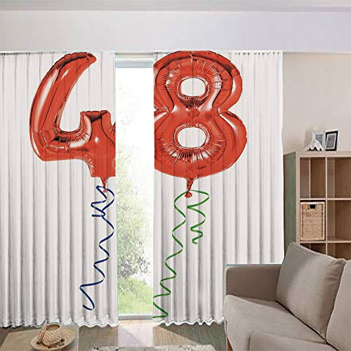 iPrint Bedroom/Living Room/Kids/Youth Room Curtain Panels, 2 Panel,Greetings Red Helium Balloon Figures Concept 108Wx73L Inch