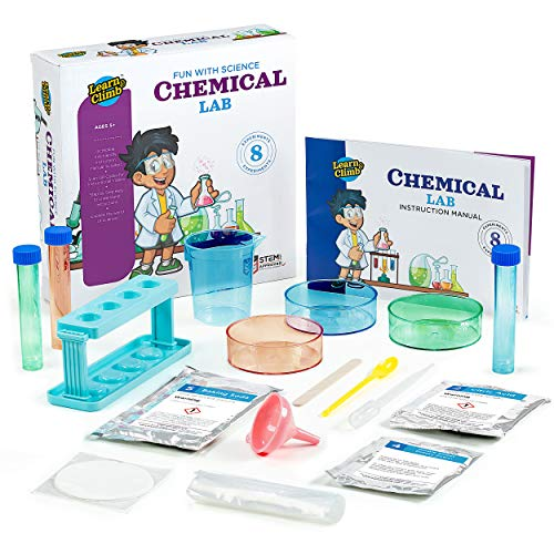 Learn & Climb Science Kits for Kids Age 5 Plus. 8 Chemistry Experiments, Step-by-Step Manual. Gift for Girls & Boys 5,6,7,8 (Best Chemistry Kits For Kids)