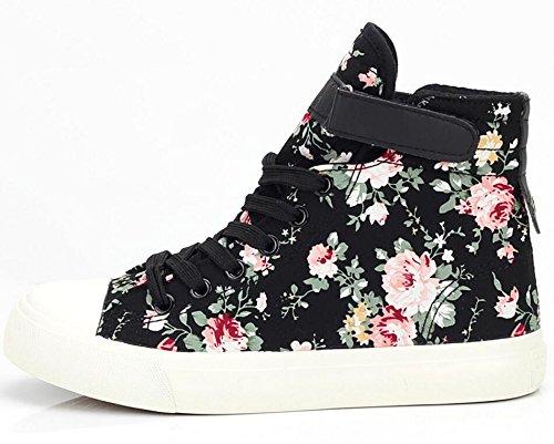 Satuki Adulte Femmes Plat Floral Haut Haut Lacets Up Toile Casual Chaussures Sneakers De Mode Noir