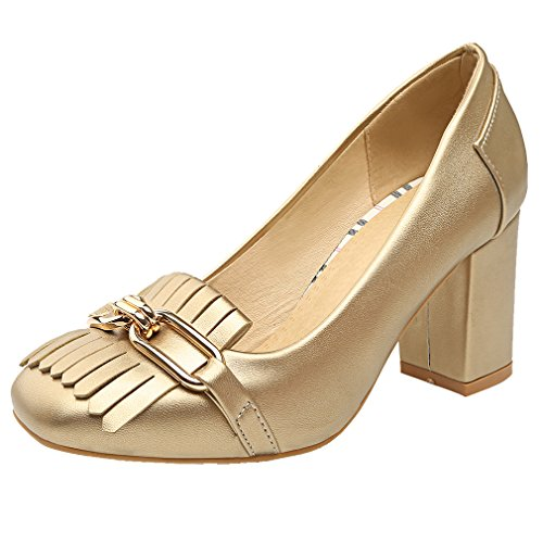 YE Damen Geschlossen High Heel Pumps mit Fransen und 8cm Blockabsatz Bequem Schuhe