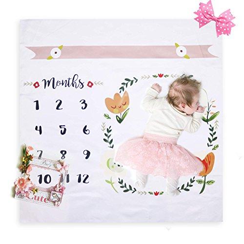 Yabblu Baby Milestone Monthly Blanket for Newborn Boy Girl Keepsake Gifts Free Bonus EBOOK - Keepsake Tips and Tricks - Photography Background Prop Swaddle Unisex for Growing Infants in White