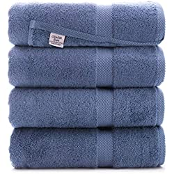 Luxury Premium Turkish Ring-Spun Cotton 4-Piece Bath Towels (Wedgewood)