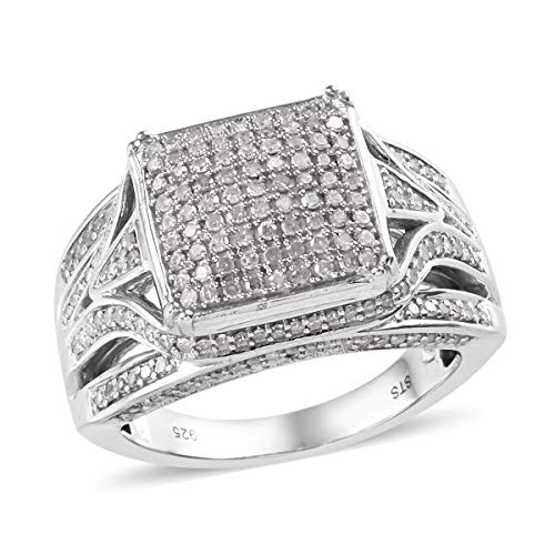 Round Diamond Cluster Ring 925 Sterling Silver Platinum Plated Jewelry for Women Size 8 Ct 1 ()