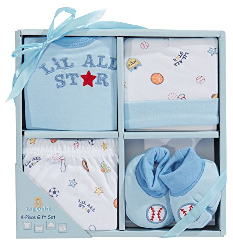 Arrival Gift - Big Oshi 4 Piece Layette Newborn Baby Gift Set for Boys - Great Baby Shower or Registry Gift Box to Welcome a New Arrival - Includes all the Essentials - Booties, Cap, Shirt and Shorts, Blue