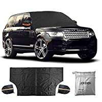 """JOKBEN Magnet Car Windshield Snow Cover, Window Cover Sunshade Snow Covers with Magnet Edges and Windproof Straps, Extra Large Size for Most Car, Truck, SUV 85"""" X 49"""" with 2 Mirror Snow Covers"""