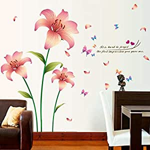 DIY Removable Wall Stickers For Living Room Home Decor - Romantic Lily